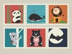 Stamps of mammal animal-1 Stock Illustration