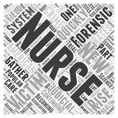 Forensic Nursing The New Breed Of Nurses word cloud concept Stock Illustration