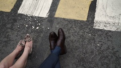 Man and woman legs on a street Stock Footage