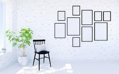 White modern living room interior with living space and photo frames on wall Stock Illustration