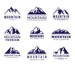 Mountain vector icons set Stock Illustration