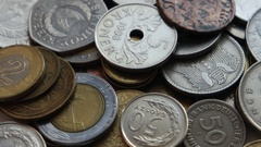 Ancient coins on a rotating table Stock Footage