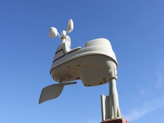 Weather station wind guage blue sky DCI 4K Stock Footage