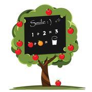 Blackboard of nature educational nursery apple tree. Stock Illustration