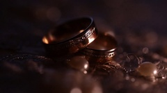 Wedding rings and  beautiful background blur Stock Footage
