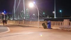 Pedestrians walking at night w/ Dallas Skyline- panning time-lapse Arkistovideo