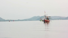Beautiful view of fishing boats at the early morning in small harbour near Hua Stock Footage