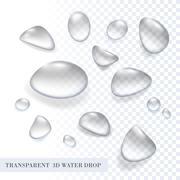 Vector three dimension transparent pure aqua water drop set. Stock Illustration