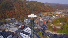 Aerial video Lookout tower Gatlinburg Tennessee Stock Footage