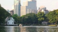 Lake view of Lumpini Park in the Thai capital's city centre Stock Footage