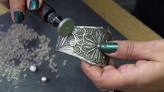 Polishing of jewelry from silver Stock Footage