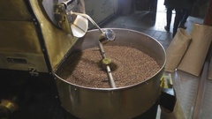 The production process of coffee with a coffee machine Stock Footage