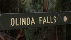 Dandenong Ranges Park: Olinda Falls Sign Stock Footage