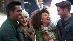Group of friends having fun at Times Square, NYC Stock Footage