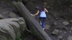 Dandenong Ranges Park: Girl Walking Near the Falls Stock Footage