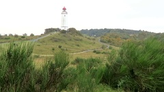 Lighthouse of Dornbusch hill on Hiddensee Isle (Germany). Autumn. Stock Footage