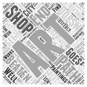 Shop for Art off the Beaten Path word cloud concept Stock Illustration