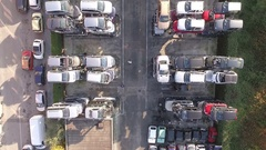 Wrecking yard aerial video Stock Footage