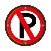 Parking prohibited traffic signal Stock Illustration