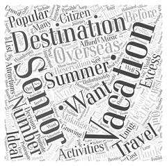 Popular Summer Vacation Destinations for Seniors word cloud concept Stock Illustration