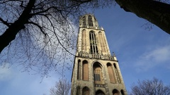 Majestic 368' Cathedral Tower of St. Martin's, Utrecht, the Netherlands in 4K Stock Footage