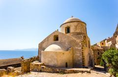Monemvasia the medieval town in Peloponnese Stock Photos