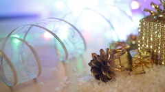 Gilded boxes with gifts in the snow. Christmas background Stock Footage