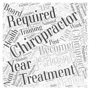 Requirements to become a chiropractor word cloud concept Stock Illustration