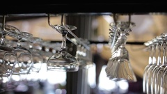 The bartender takes a glass from the bar Stock Footage