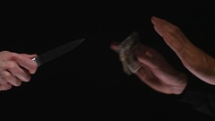4K Knife Threatening To Steal Money Stock Footage