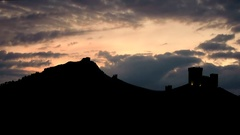 Sunset on the Genoese fortress on the hill Stock Footage