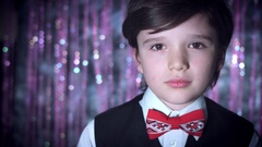 4K Disco Shot of child Holding a Christmas Gift Stock Footage