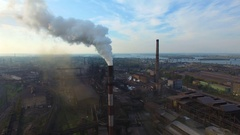 Pipe factory smoke. Aerial survey Stock Footage