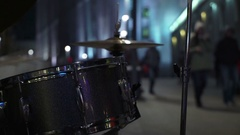 Concept of Lifestyle - Rhythm of City Life. Street Musician Plays the Drums Stock Footage