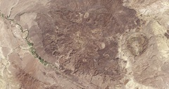 High-altitude overflight aerial of arid, rocky landscape in Big Bend State Park Stock Footage