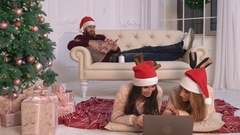 Friends spend time at home new year eve Stock Footage