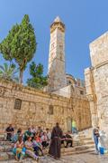 Omer mosque minaret in Jerusalem Stock Photos