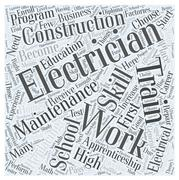 Electrician Education Requirements word cloud concept Stock Illustration