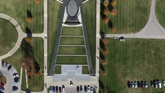 Aerial downward view fly over the WWI museum in Kansas City Stock Footage