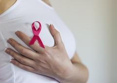 Woman hold her breast and have sign for breast cancer on it Stock Photos