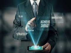 Businessman Success Achieve Target Innovation Strategy Plan Operation Motivation Stock Footage