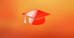 Education Red 3d Icon Stock Footage