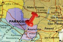 Destination map, Asuncion Paraguay Stock Photos