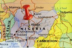 Nigeria capitol Abuja pinned map Kuvituskuvat