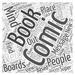 Message Boards For Comic Books word cloud concept Stock Illustration