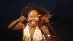 New Years Celebration With A Beautiful Woman Sparkler And Fireworks At Night  Stock Footage