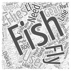 Fly Fishing Gear word cloud concept Stock Illustration