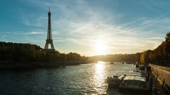 Beautiful lovely sunset in Paris, France Stock Footage