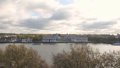 Aerial view of the Old Royal Naval College and the Queen's house in Greenwich Stock Footage