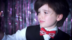 4K Disco Christmas Shot of Child Holding Toy Ball Stock Footage